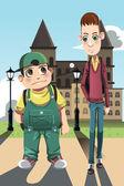 Two boys — Stock Vector