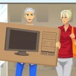 Couple buying TV — Stock Vector