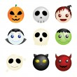 Stock Vector: Halloween characters icons