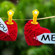 Romantic hearts labelled You and Me — Stock Photo