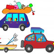 Stock Vector: Happy family traveling by car