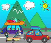 Happy family traveling by car — Stock Vector