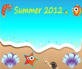 Summer holiday web and print template - tropical beach. Summer Beach Party Flyer - Vector Design — Stock Vector