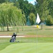 Stock Photo: Golf field and golf flag on sunny day