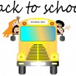 Stock Vector: School bus with happy children back to school vector illustration