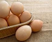 背景を解任黄麻布で編まれたわらのバスケットの卵 — ストック写真