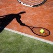 Stock Photo: Shadow of a tennis player in action on a tennis court