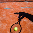 Shadow of a tennis player in action on a tennis court — Stock Photo #10957170