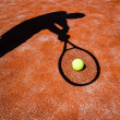 Постер, плакат: Shadow of a tennis player in action on a tennis court