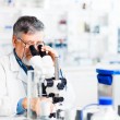 Senior male researcher carrying out scientific research in a lab — Stock Photo #10957254