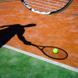 Shadow of a tennis player in action on a tennis court — Stock Photo #11302798