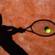 Shadow of a tennis player in action on a tennis court — Stock Photo #11302812
