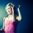 Music please! - Portrait of a pretty young woman/teenager listen — Stock Photo