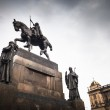 Prague, Wenceslas Square: view of the statue of St. Wenceslas an — Stock Photo #11303009