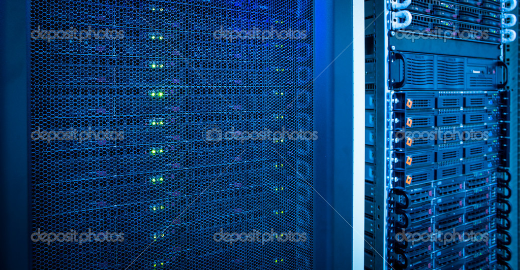 Server rack cluster in a data center (shallow DOF; color toned image)  Stock Photo #11302862