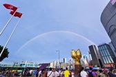 Arco iris en el centro de hong kong — Foto de Stock