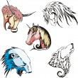 Vector de stock : Heads of wolf, polar bear, unicorn, horse and bull