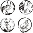 Round designs with birds and animals — Stock Vector #11247205