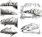 Mountain sketches — Stock Vector