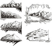 Mountain sketches — Cтоковый вектор