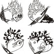 Stylized Tattoos with Hearts — Stock Vector