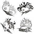 Stylized Tattoos with Hearts - Stock Vector