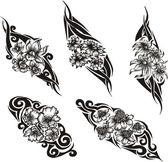Tribal Flower Tattoos — Stock Vector