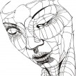 Wireframe Woman Face - Stock Vector