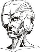 Head of cyborg woman — Stock Vector