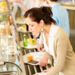 ������, ������: Business woman choose cafeteria lunch buffet