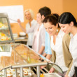 Постер, плакат: Cafeteria lunch two office woman choose food