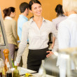 Royalty-Free Stock Photo: Cafeteria lunch office women chat serving queue