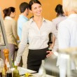 Cafeteria lunch office women chat serving queue — Stock Photo