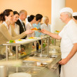 Постер, плакат: Office woman in canteen cook serve meals