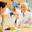 Cafeteria lunch young business woman eat salad — Stock Photo #10745393