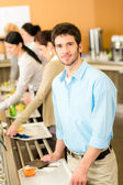 Business man take cafeteria lunch food — Stock Photo