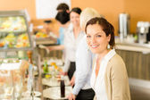 Business woman take cafeteria lunch smiling — Stock Photo