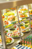 Cafeteria self service display food fresh salad — Stock Photo