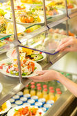 Buffet self service canteen display fresh salad — Stock Photo