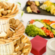 Bread selection catering buffet served food — Stock Photo #10887371
