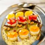 Desserts on silver platter food details — Stock Photo