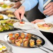Foto de Stock  : Snacks buffet at business company meeting