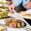 Snacks buffet at business company meeting — Stock Photo #10887630