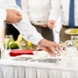 Business catering glasses for company celebration - Stock Photo