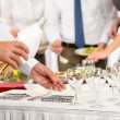 Stock Photo: Business buffet lunch caterer serve wine appetizer