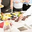 Catering mini dessert at business buffet table — Stock Photo #10887789