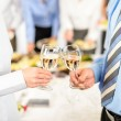 Business toast glasses company partners at meeting — Stock Photo