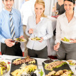 Company meeting catering business eating — Stock Photo