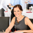 Business woman work during catering buffet — Stok fotoğraf