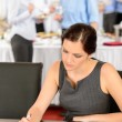 Business woman work during catering buffet — Stock Photo